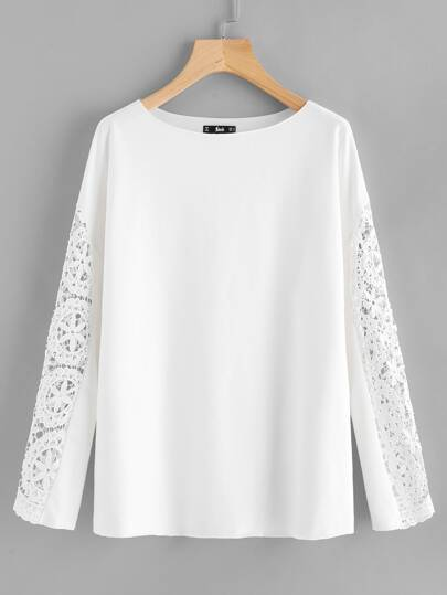Circle Lace Insert Raw Hem Sweatshirt
