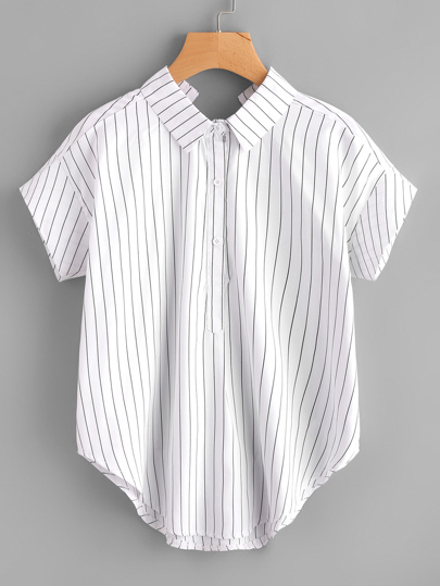 Pinstriped Bow Tie Back Curved Hem Blouse