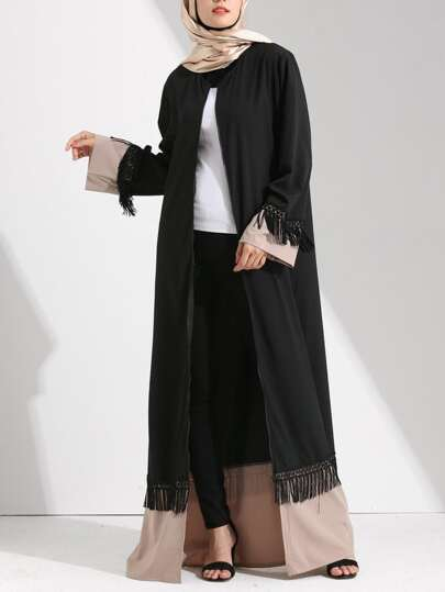 Color Block Cut And Sew Tassel Detail Abaya