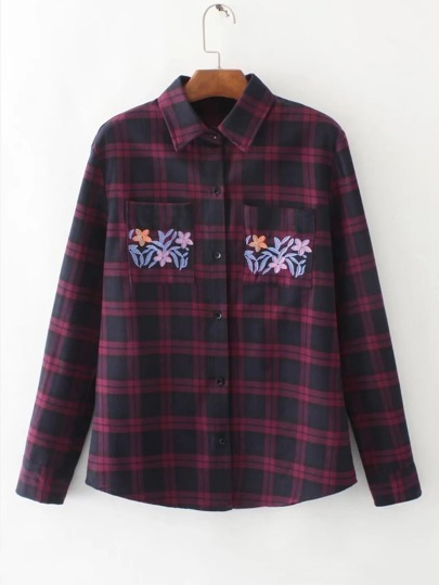 Flower Embroidered Plaid Blouse