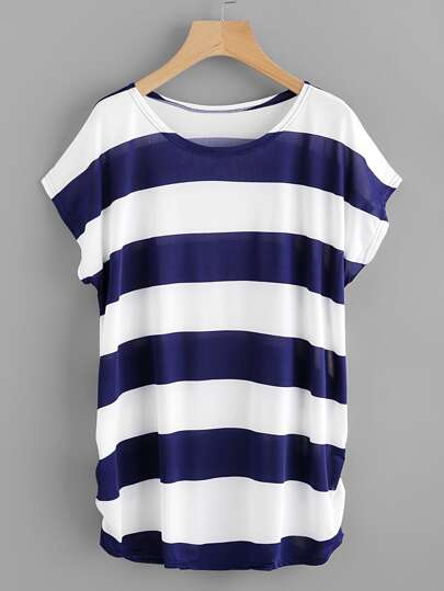 Contrast Wide Stripe Shirred Side Tee