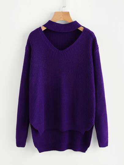 Choker Neck Stepped Hem Jumper