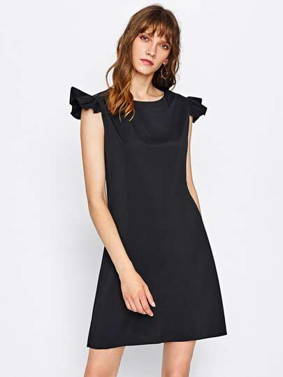 Frill Cap Sleeve Dress