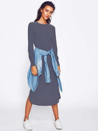 Curved Hem Striped Tee Dress