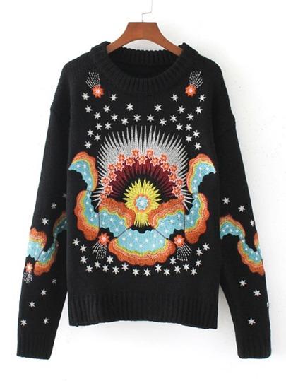 Sweater large côtelé découpé brodé