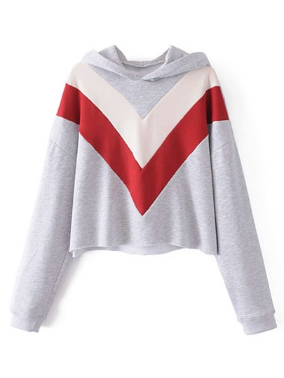 Color Block Chevron Pattern Hoodie