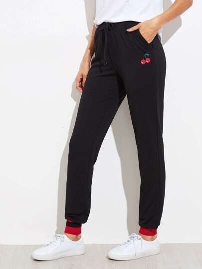 Cherry Embroidered Striped Ribbed Hem Sweatpants