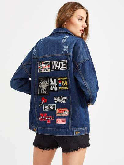 Badge Detail Back Contrast Check Trim Denim Jacket