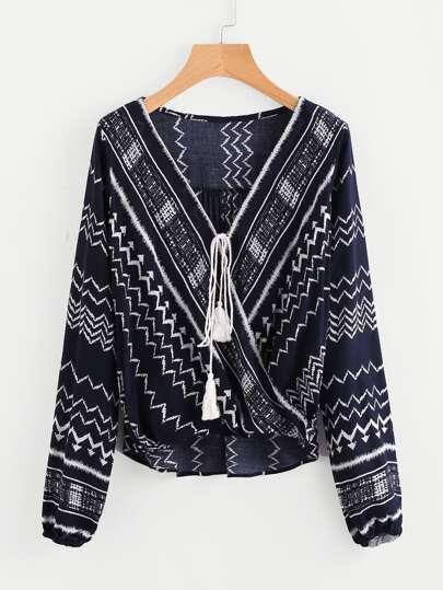Blusa cruzada de rayas con cordón