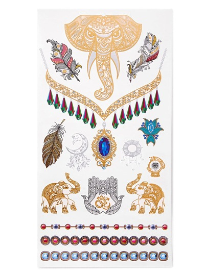 Pegatinas de tatuaje con pluma y elefante
