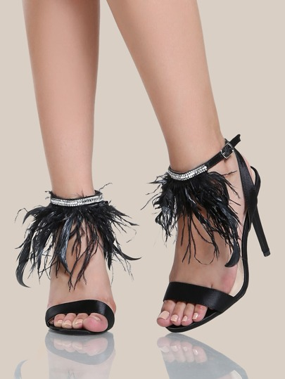 Feather Ankle Band Heels BLACK