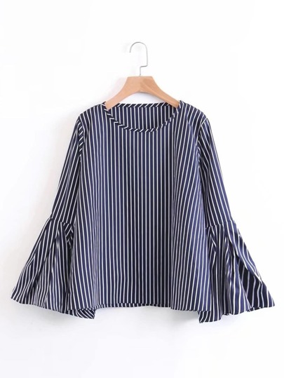 Pleated Bell Sleeve Striped Blouse