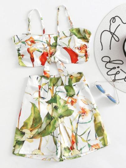 Top camisole con stampa botanica con pantaloncini