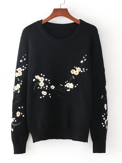 Flower Embroidery Loose Sweater