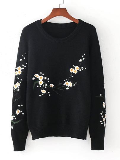 Sweater vague brodé des fleurs
