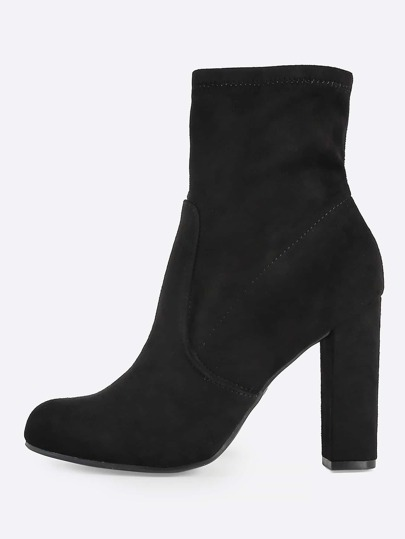 Zip Up Heel Booties BLACK