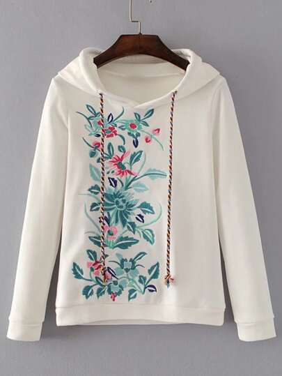 Flower Embroidery Drawstring Hooded Sweatshirt