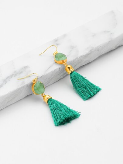 Stone Detail Tassel Drop Earrings