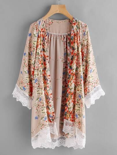 Kimono découpé contrasté imprimé fleuri en crochet