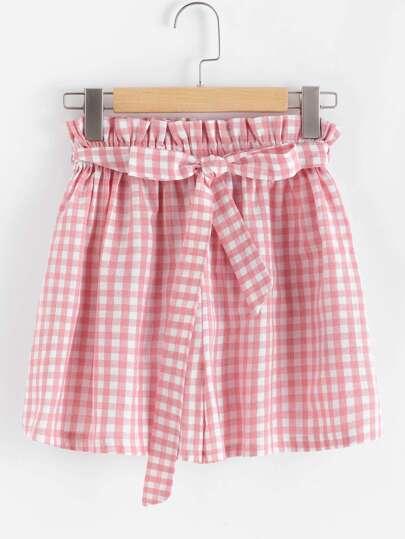 Checked Self Tie Waist Shorts