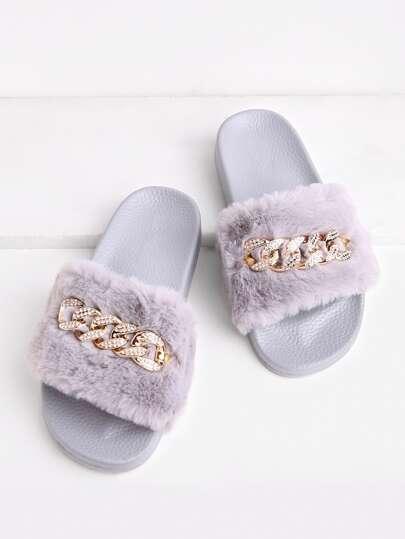 Chain Detail Faux Fur Slippers