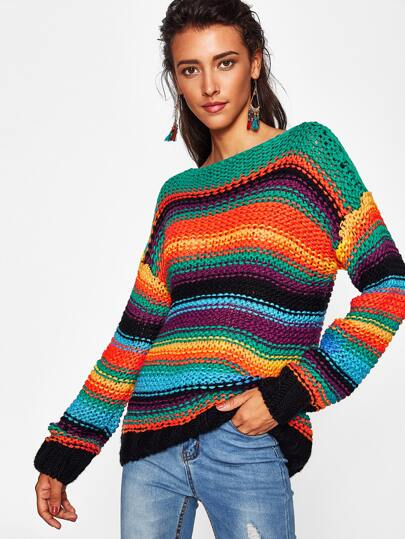 Block Striped Boat Neck Chunky Sweater