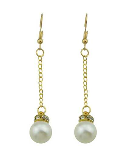 Imitation Pearl Gold Color Long Chain Earrings