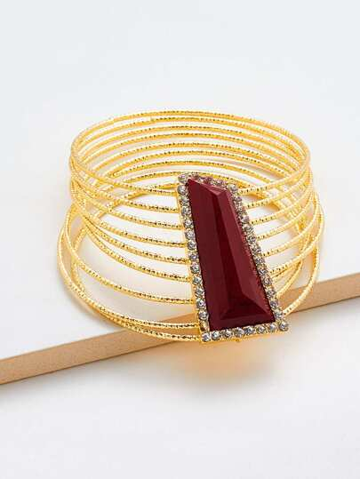 Gemstone Detail Layered Bangle