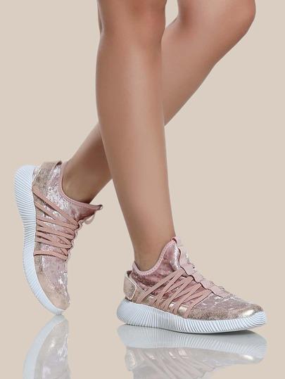 Velvet Strappy Sneakers BLUSH