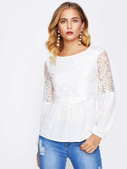 Hollow Out Lace Panel Blouse