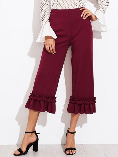 Shirred Ruffle Hem Tailored Culotte Pants