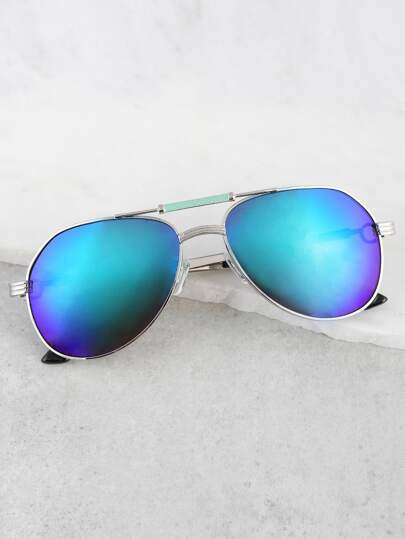 Relective Aviator Sunglasses TURQUOISE