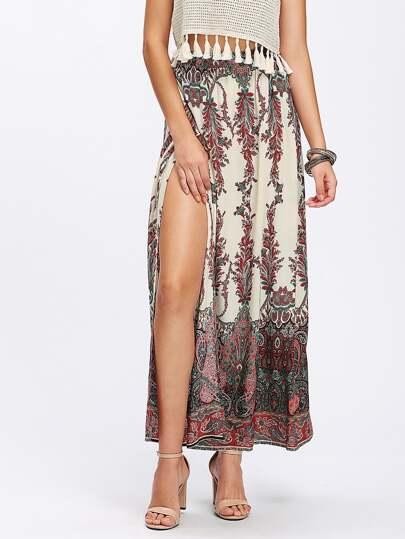 Paisley Print Overlap Skirt