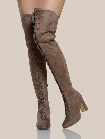 Faux Suede Lace Up Thigh High Boots TAUPE