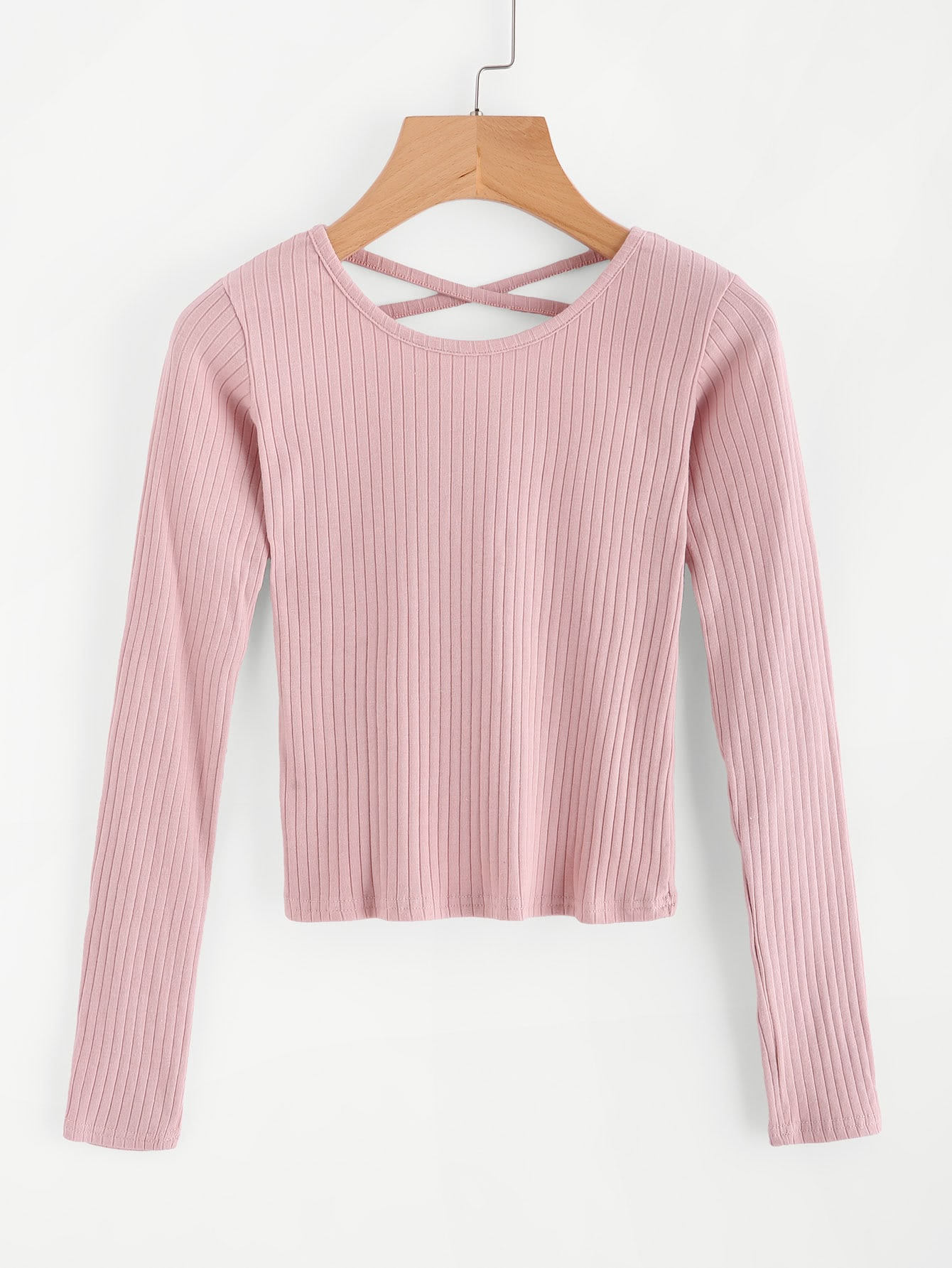 Criss Cross Back Ribbed SweaterFor Women-romwe
