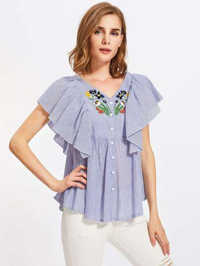 Flutter Sleeve Embroidered Smock Blouse