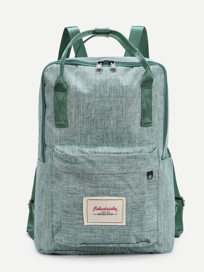 Patch Detail Double Handle Canvas Backpack