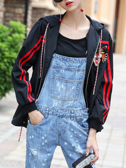 Tiger Embroidered Hooded Striped Coat
