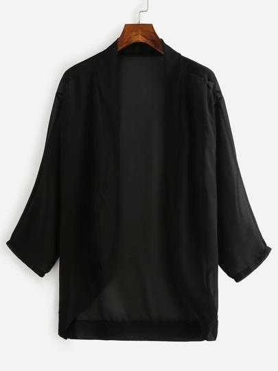 Kimono en mousseline couleur unie - noir