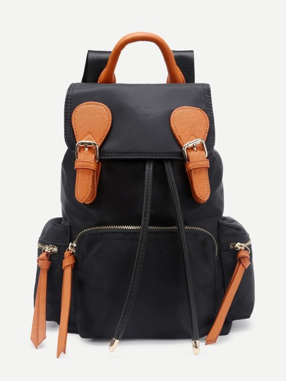 Double Buckle Side Pocket Nylon Backpack