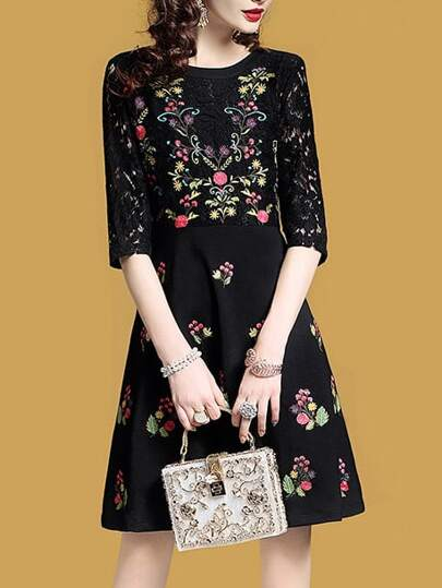 Flowers Embroidered Contrast Lace Dress