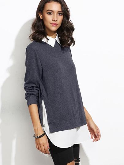 Jersey con cuello en contraste y bajo redondeado