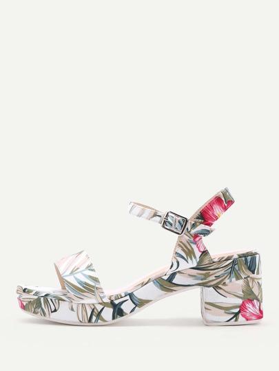 Flower Print Platform Sandals