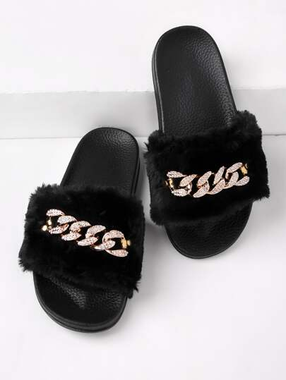 Chain Detail Faux Fur Slippers