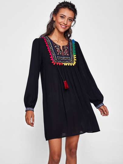 Pom Pom Trim Tribal Embroidery Yoke Tasseled Swing Dress
