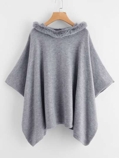 Hanky Hem Faux Fur Trim Hooded Poncho Sweater