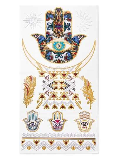 Pegatinas de tatuaje con diseño de palma y hoja
