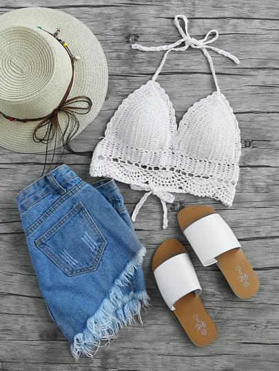 Hollow Out Crochet Halter Top