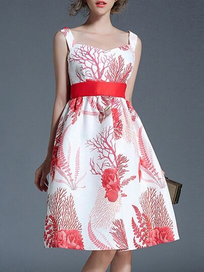 Strap Backless Jacquard A-Line Dress