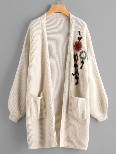 Flower Embroidered Lantern Sleeve Longline Cardigan